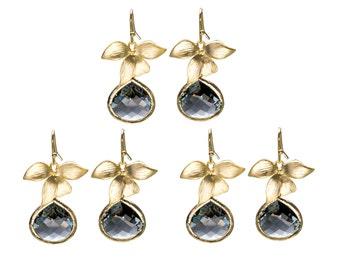 Charcoal Orchid Earrings, Flower Earrings, Drop Earrings, Dangle Earrings, Wedding Jewelry, Bridesmaid Jewelry, Mother's Day