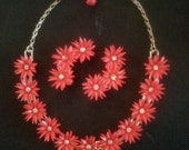 Whimsical 1950's Red Plastic and Rhinestone Flower Necklace and Matching Earrings....