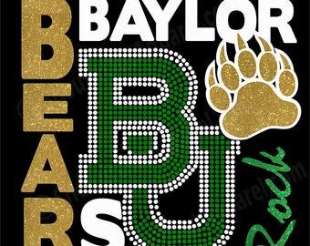 Baylor Bears Rock - with glitter & rhinestones - Go Bears
