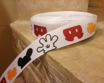 "5 YDS Mickey Body Parts Ribbon (7/8"")"