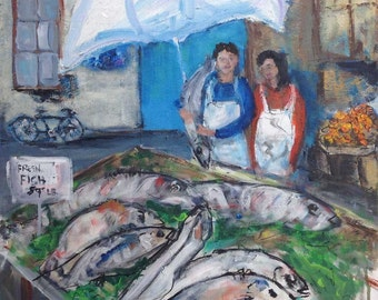 European Fish Market - 18 X 18 Original Painting