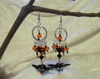 Beaded Halloween Bat earrings