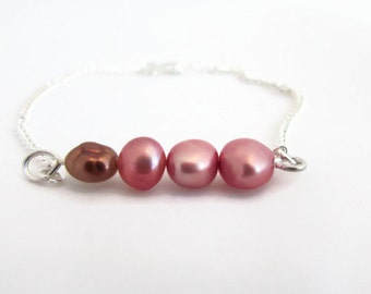 CLEARANCE Pink pearl bracelet, freshwater pearls, handmade in the UK