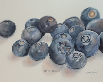 Blueberries PRINT, Home Decor, watercolour painting. A still life of blueberries. FREE Shipping