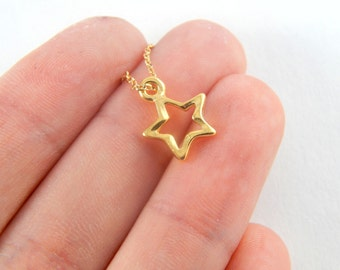Gold hollow star anklet, gold star anklet, star anklet, star ankle bracelet, gold ankle bracelet, charm anklet, charm ankle bracelet 209