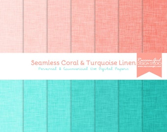 Seamless Coral and Turquoise Linen Digital Paper Set - Personal & Commercial Use