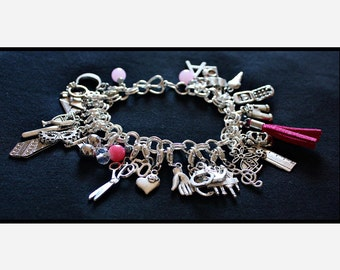 Pink Fifty Shades of Grey Charms Bracelet