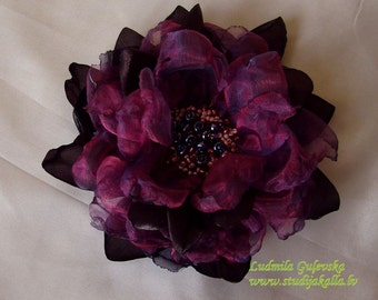 Handmade brown - purple - violet organza flower brooch, flower clip & pin