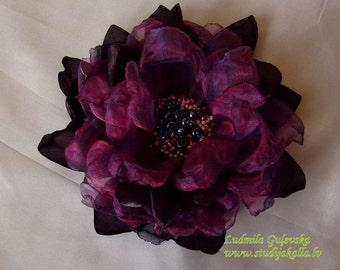 Handmade brown - purple - violet organza flower brooch, flower clip & pin