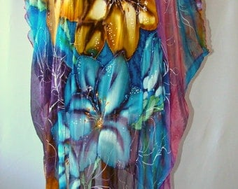 Tunic.Natural silk tunic - handmade artwork, silk painting, turquoise-purple-yellow floral tunic, fressia