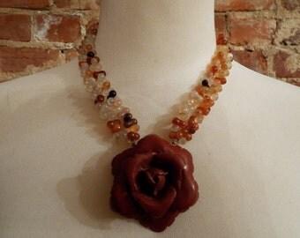 Bold Carnelian Statement Necklace w/Coral Rose Pendant