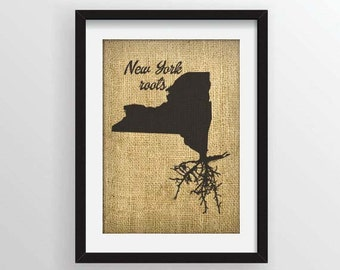 New York Roots on Actual Burlap Fabric