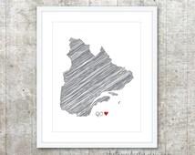 Quebec Province Art Print - Custom Canadian Province Poster - BC Canada Province Poster - Slate Grey Red Heart - Modern W
