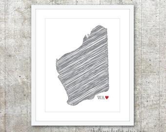 State of Western Australia - Custom Australian State Love Poster - Slate Grey Red Heart - Australia Modern Wall Art