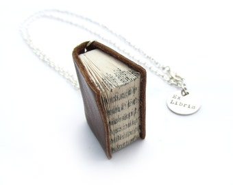 Classic Brown Book Necklace - Handcrafted Upcycled Leather Bound Paper Book - Miniature