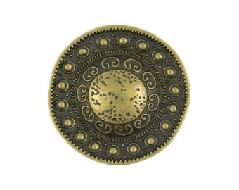 Metal Buttons - Beads around the Dome Antique Brass Metal Shank Buttons - 23mm - 7/8 inch - 6 pcs