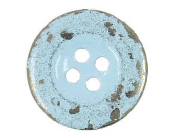 Metal Buttons - Light Blue Painting Silver Metal Hole Buttons - 20mm - 3/4 inch - 6 pcs