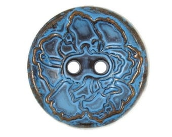 Metal Buttons - Copper Flower Blue Metal Hole Buttons - 20mm - 3/4 inch - 6 pcs