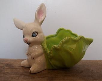 Vintage Easter Bunny, Ceramic Rabbit,  Ceramic Planter, Candy Dish, Handpainted, Easter Decor, Spring