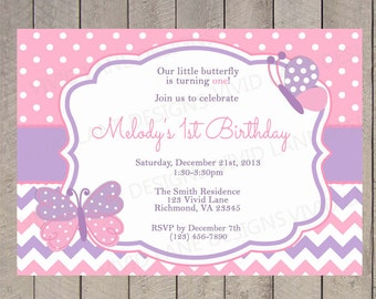 Pink and Purple Butterflies Birthday Invitation, Polka Dots, Chevron, First Birthday, 1st, 2nd, 3rd, 4th - 5109