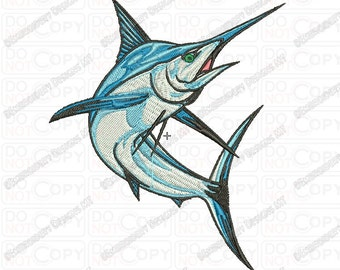 Marlin Fish Embroidery Design in 4x4 5x7 and 6x10 Sizes