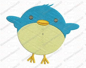 Blue Birdy Full Stitch Embroidery Design in 2x2 3x3 4x4 and 5x7 Sizes