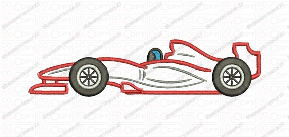 F1 Racecar Applique Embroidery Design In 3x3 4x4 And 5x7 Sizes