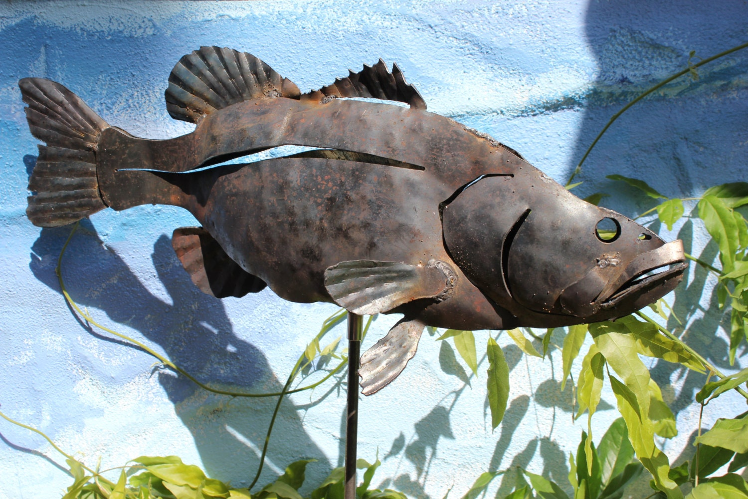Largemouth bass metal art sculpture for the garden fish for Fish garden statue