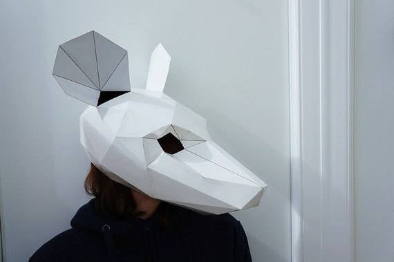 Mouse mask, need a animal mask? make your own from recycled card.