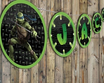 Teenage Mutant Ninja Turtles Birthday Banner & Cupcake Toppers Personalized