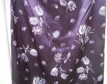 EDWARDIAN ,Victorian, Steampunk Look 90s Purpley Satin w Lavender Tulips Long Skirt, Maggie Lawrence, Medium Size