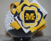 University of Michigan Wolverines Fabric Flower Headband for baby