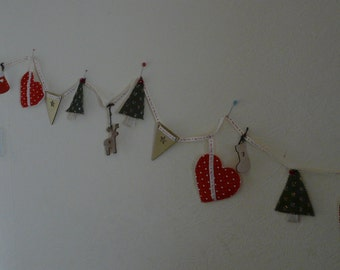 A string of  Christmas bunting