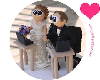 Wedding Cake Topper - Romantic cake topper, CUSTOM cake topper, FUNNY cake topper, wedding topper, Laptop cake topper, Unique cake topper