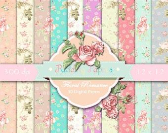 Floral Romance - Instant Download, Digital Paper, Shabby Chic, Floral Paper, Scrapbook Paper, Decoupage Paper, Roses, Printable Paper