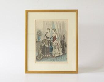 Antique fashion print France Modes de Paris framed antique
