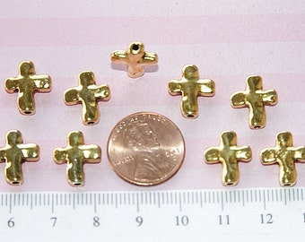 20  pcs  - 13x11 mm Reversible Cross Bead in Antique Gold  Lead Free Pewter