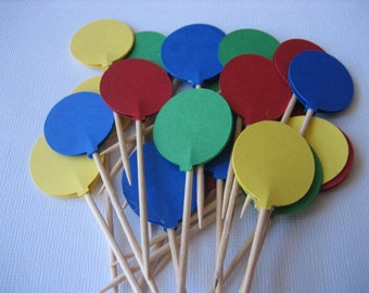 BALLOON PARTY PICKS, Primary Colors Party Picks, Balloon Food Picks, Balloon Cupcake Toppers, Party Decorations, Cupcake Toppers