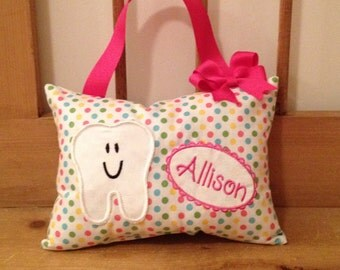 Girly Polka Dot Tooth Fairy Pillow