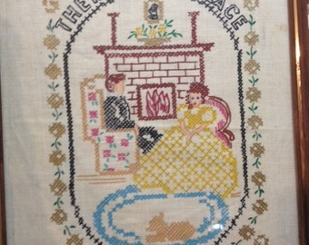 Vintage There is No Place Like Home Cross Stitch Embroidery