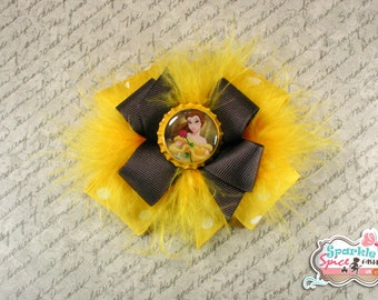 Belle Hair Bow, Disney Princess, Stacked Boutique Bow with feathers, Yellow, Brown, Polka dot, Hairbow, Beauty & the Beast, Bottlecap Bow