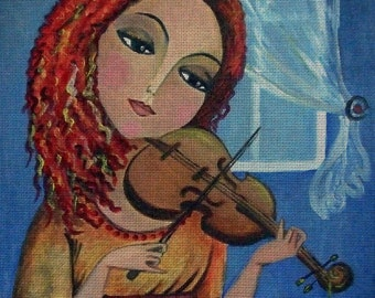 """Needlepoint canvas """"Lady.Melody for violin"""" (AOS010)"""