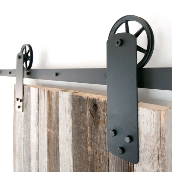 Vintage industrial strap spoked european sliding barn door