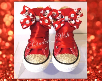 Minnie Mouse Converse / Customised converse / Adult converse / bling toe converse / Red converse