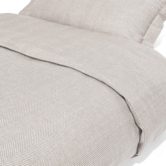 Gray Herringbone Coverlet : Linen cotton bedding set gray by linenfromlithuania