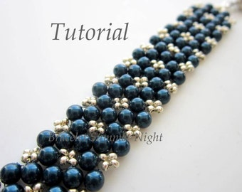 PDF Tutorial beaded bracelet Summer Night - beading - seed beads pearls - easy pattern