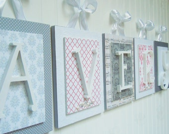 Nursery letters, Coral and Gray Nursery Letters, Coral Nursery Ideas, Baby Girl Nursery, Nursery Wall Letters, Shabby Chic Nursery Letters