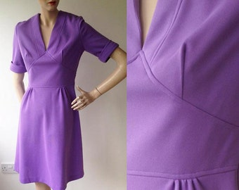 1960s Violet Crimpolene Dress Size UK 10/12