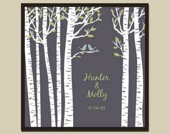 Birch Tree with Two Doves/Family Tree/Bride & Groom/Wedding/First Paper Anniversary Date Square Print  in sizes 10x10, 12x12, 16x16