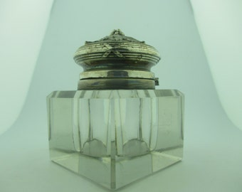 Antique Victorian Crystal Ink Well w/Beveled Edging & a Silver Plated Ornate Top.